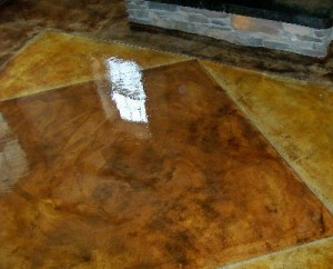 Clear Chemical Resistant Epoxy #15 over Stained concrete